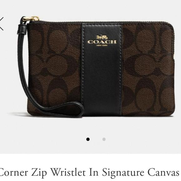 Coach Handbags - Coach wristlet wallet handbag bag purse brown